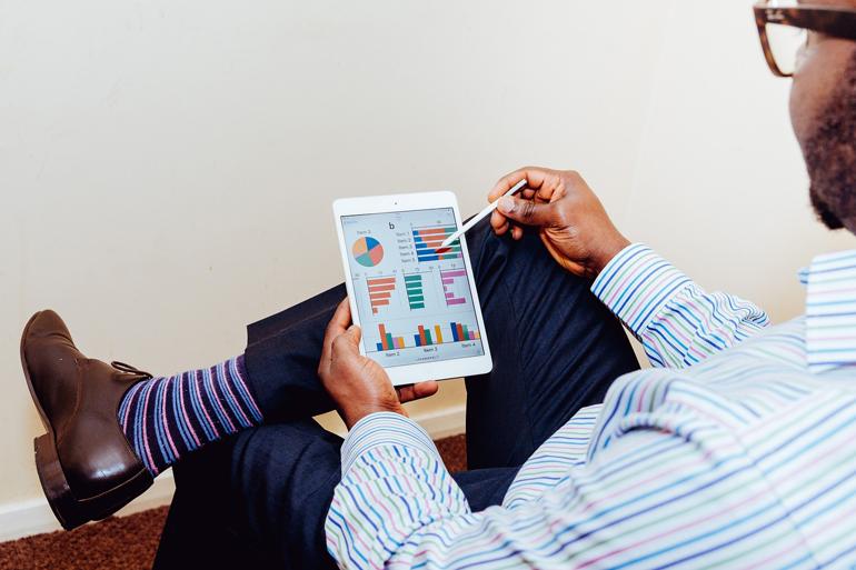 Phablet, tablet, smartphone, executivo